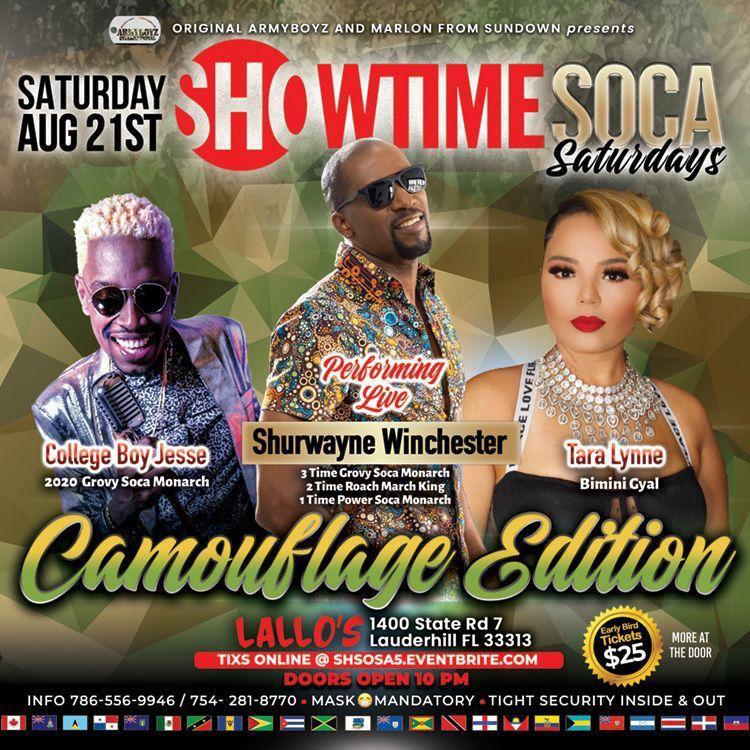 Showtime Soca Saturdays ft. Sherwayne Winchester, College Boy Jesse & Tarra Lynne